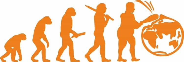 ilustração da evolução do homem até chegar à Terra e destruí-la